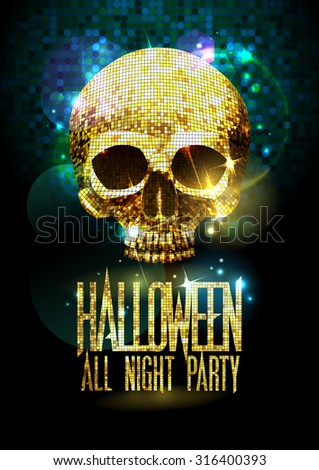 Fashion halloween party poster with gold sparkles skull. - stock vector