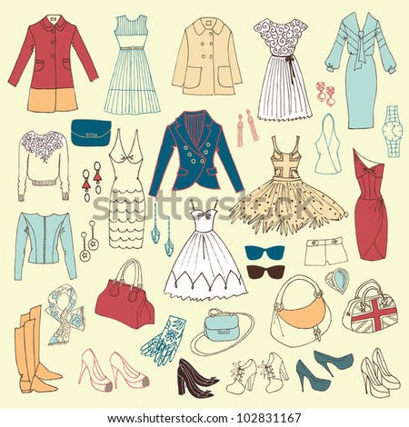 Fashion hand drawn doodle set - stock vector