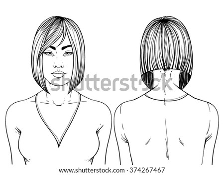 Fashion illustration.  Haircut ANGLED BOB. Hand drawn outline vector art isolated on white. This can be used as a face chart or for hairdressers. Asian type of face. Adult coloring book. - stock vector