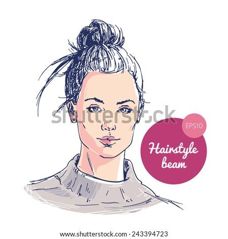 Fashion illustration: hand drawn beautiful girl. Ballet beam hairstyle. - stock vector
