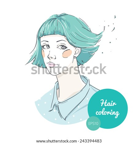 Fashion illustration: hand drawn cute girl. Hairstyle and coloring. - stock vector