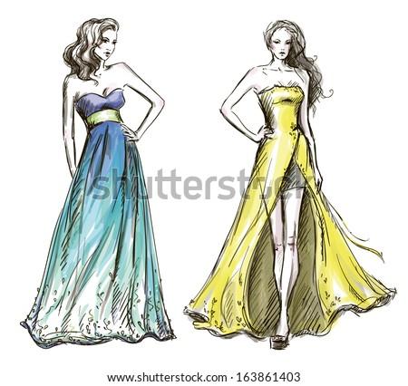 Fashion illustration. Long dress. Catwalk.  - stock vector