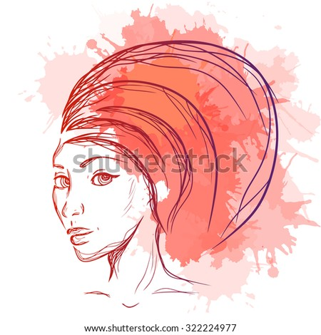 Fashion Illustration of a woman with a turban and watercolor blots for your creativity - stock vector