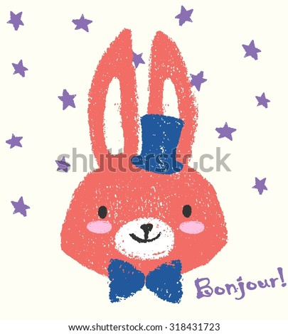 Fashion illustration of cute bunny with blue bow and hat drawing with chalk. Crayon drawing of lovely vector character isolated on neutral colored background with pastel stars. Sketch easter card - stock vector
