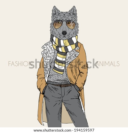 fashion illustration of wolf dressed up in mutton coat - stock vector