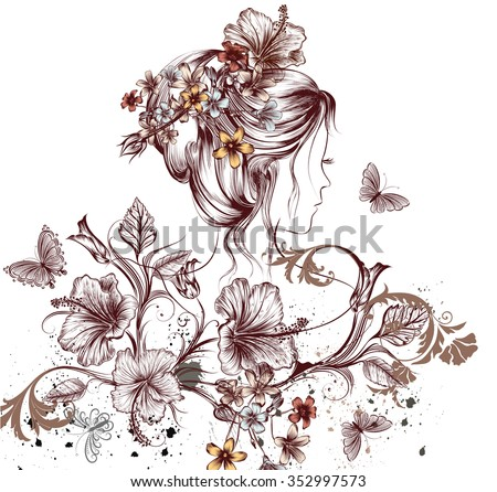 Fashion illustration with beautiful young fairy woman butterflies and hibiscus flowers symbol of spring - stock vector