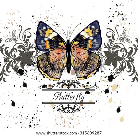 Fashion illustration with colorful butterfly and ink spots, grunge style background - stock vector