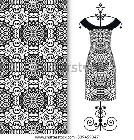 Fashion illustration, women's black lacy dress on a hanger, hand drawn seamless floral geometric pattern, design elements for Invitations or Cards, repeating fabric texture - stock vector