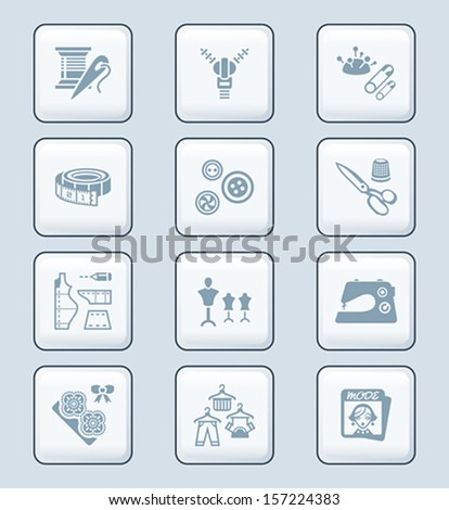 Fashion industry sewing tools and objects icon-set - stock vector