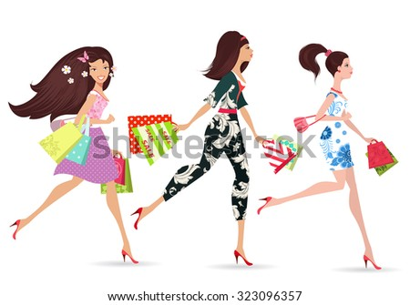 Fashion ladies walking with shopping  - stock vector