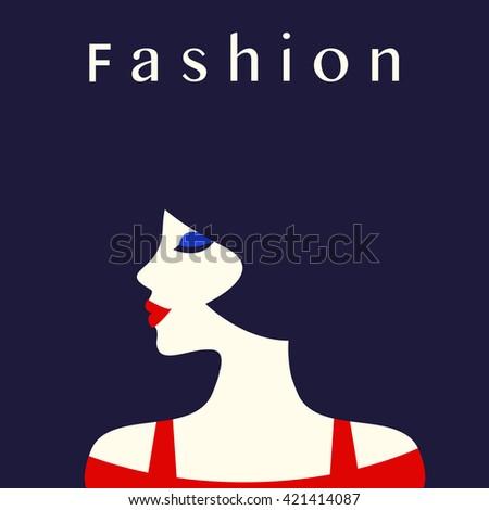 Fashion lady retro style, beautiful woman, Vector illustration. - stock vector