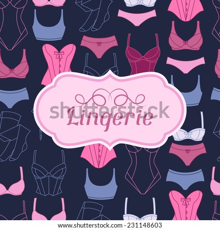 Fashion lingerie background design with female underwear. - stock vector