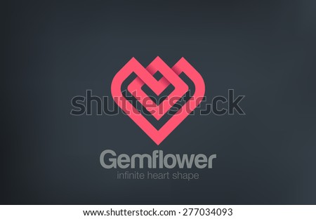 Fashion Luxury Flower Heart Logo design vector template. Jewelry Logotype as gem shape concept icon. - stock vector