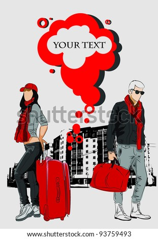 Fashion man and woman with bags on urban background - stock vector