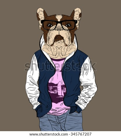 Fashion man with the head of French Bulldog for your design - stock vector