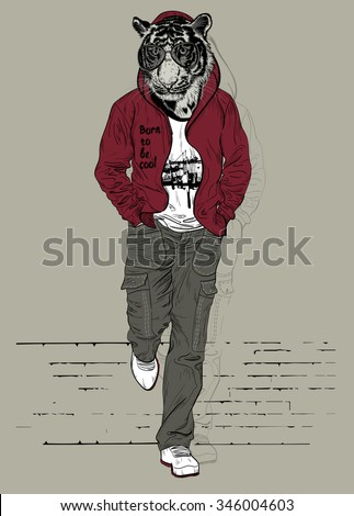 Fashion man with the head of tiger for poster or t-shirt print - stock vector