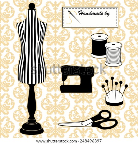 Fashion model mannequin in black and white stripes, DIY sewing, tailoring tools, sewing machine, Handmade by label, needle, thread, pincushion, scissors, Damask pattern background. EPS8 compatible.  - stock vector