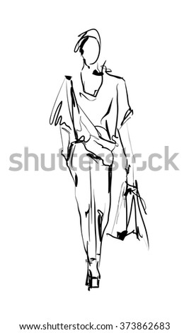 Fashion model. Sketch. - stock vector