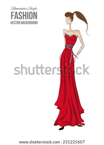 Fashion model. Sketch silhouette. Vector draw model. Vector fashion style. Fashion  background. Vintage style background. Business fashion style. Romantic style. Red dress sketch. Glamour cloth - stock vector