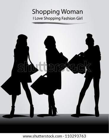 fashion model with silhouette girl - stock vector