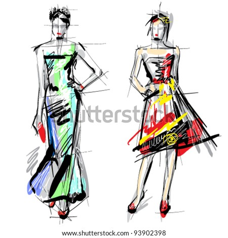 Fashion models. Sketch. - stock vector