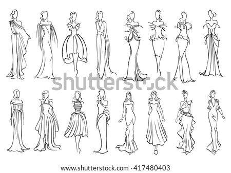 Fashion models sketched silhouettes with elegant young women in long sleeveless evening gowns and charming cocktail dresses. Fashion industry or shopping design usage - stock vector