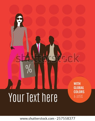 Fashion models with shopping bags in a store sale. Vector illustration Eps10 file. Global colors & layers. - stock vector