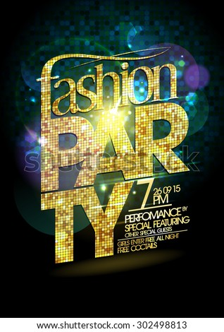 Fashion party vector poster with gold crystal glare headline - stock vector