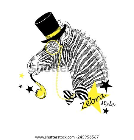 fashion portrait of festal zebra in tall hat - stock vector