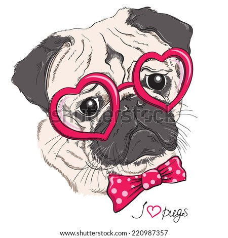 Fashion portrait of pug dog hipster in hearts glasses isolated on white. Vector hand drawn illustration - stock vector