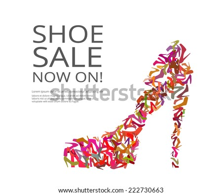 Fashion poster of women multicolor shoes on white background. Text outlined - stock vector