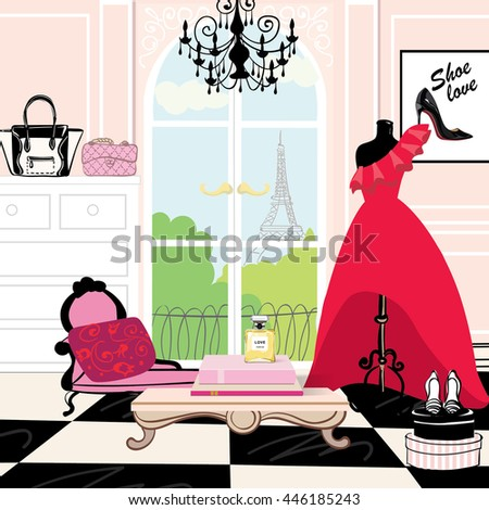 Fashion room, stylish, beauty, vogue, vector, illustration, red dress, Paris, bag, shopping, tailor - stock vector
