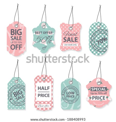 Fashion sale label tegs with sample text. - stock vector