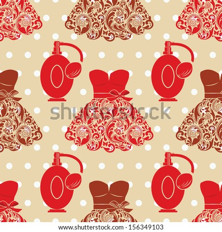 Fashion seamless texture with dresses and perfume. - stock vector
