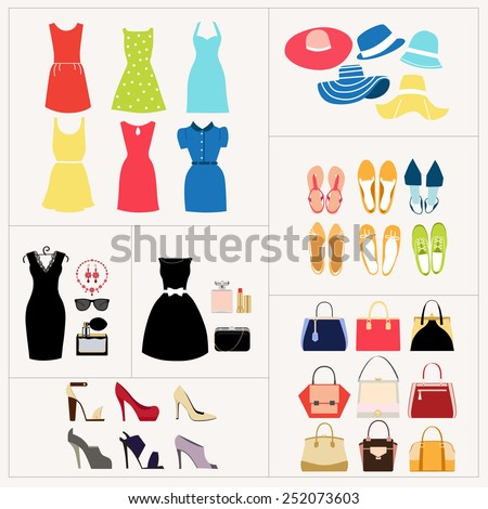 Fashion set. Dresses, bags, shoes, hats.  - stock vector