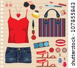 Fashion set with jeans shorts. vector - stock vector