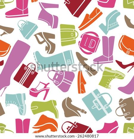 Fashion shoes and bags seamless vector pattern on white background for sales and marketing - stock vector