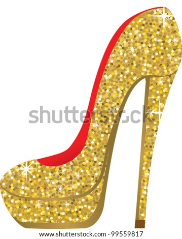 fashion shoes with sequins. vector illustration - stock vector