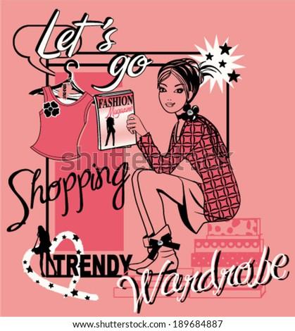 fashion shopping girl comics - stock vector