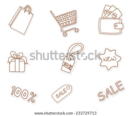Fashion Shopping Object Hand Drawn Sketch Doodle - stock vector