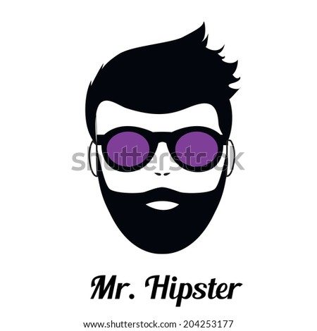 Fashion silhouette hipster style, vector illustration. Eps - stock vector