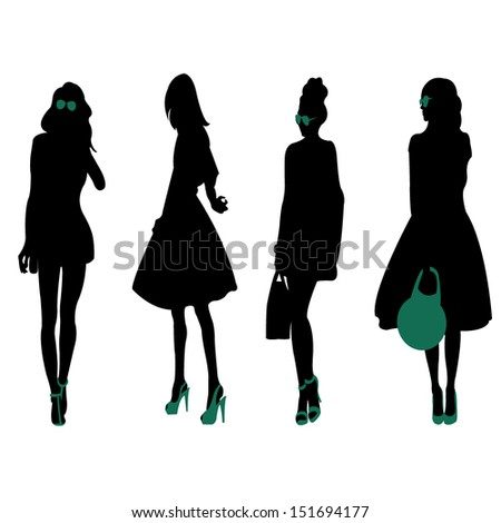 fashion silhouettes - stock vector