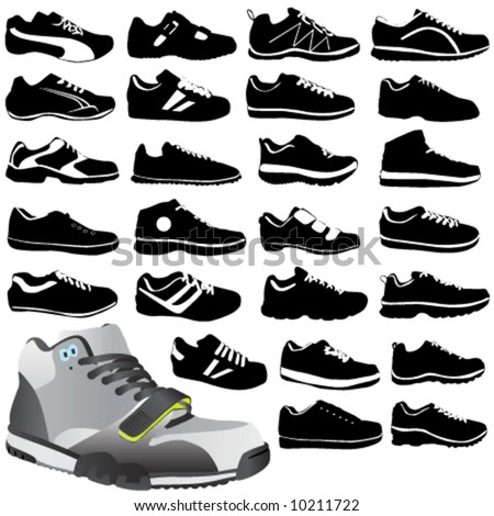 fashion sport shoes - stock vector