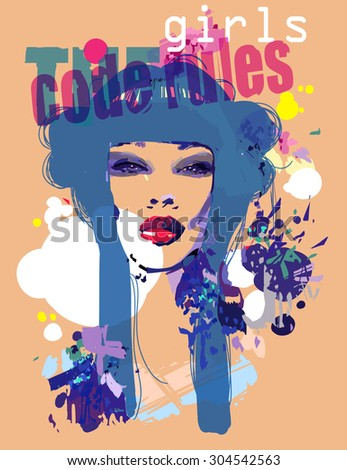 Fashion style illustration  with girl and decorative blue hair for T-shirt - stock vector