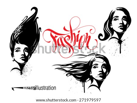 Fashion styles for female hairdos - stock vector