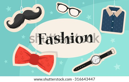 Fashion Title. Colorful Objects: Mustache, Glasses, Bow Tie, Clock and Modern Shirt. Stylized Vector Illustration - stock vector