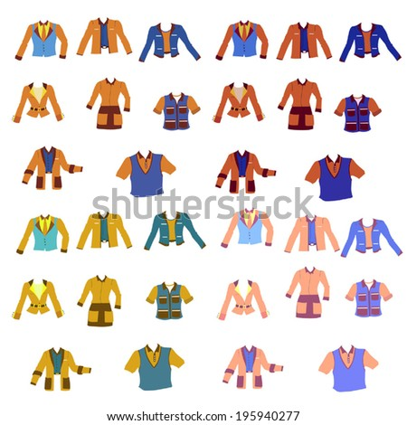 Fashion trends set, Set of Different uniforms in different colors, Vector Uniforms, Dress codes, Overcoat set, Set of suits - stock vector