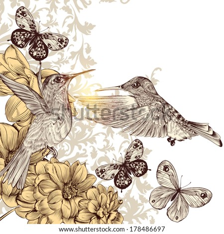 Fashion vector background with detailed hand drawn flourishes and birds - stock vector