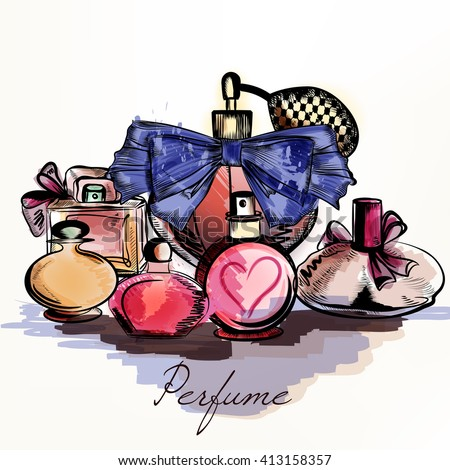 Fashion vector background with perfumes drawn in watercolor style select your aroma for design - stock vector