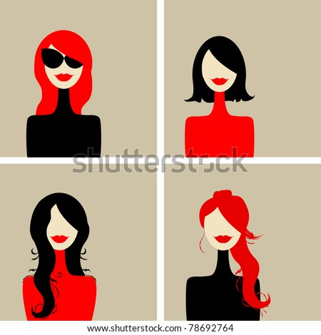 Fashion woman portrait for your design - stock vector